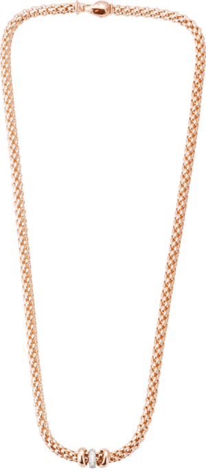 Halskette Fope Flex'it Solo aus 750 Roségold und Roségold mit mehreren Brillanten (0,1 Karat)