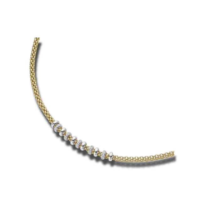 Halskette Fope Flex'it Solo aus 750 Gelbgold und 750 Weißgold mit mehreren Brillanten (0,5 Karat)