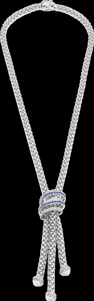 Halskette Fope Solo Mialuce aus 750 Weißgold mit mehreren Brillanten (1,07 Karat) und mehreren Saphiren