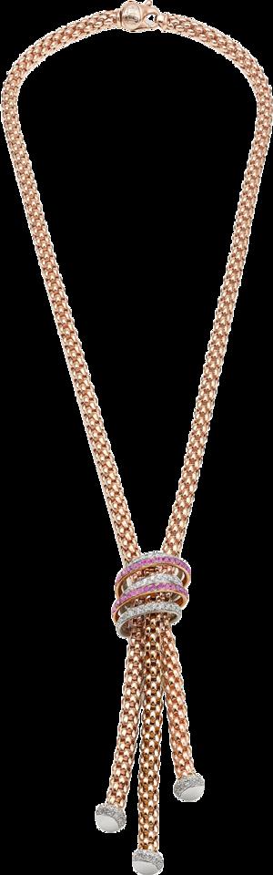 Halskette Fope Solo Mialuce aus 750 Roségold und 750 Weißgold mit mehreren Brillanten (1,07 Karat) und mehreren Saphiren