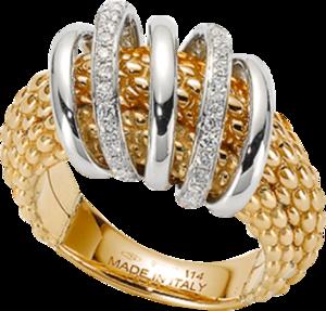 Ring Fope Solo Mialuce aus 750 Gelbgold und 750 Weißgold mit mehreren Brillanten (0,3 Karat)