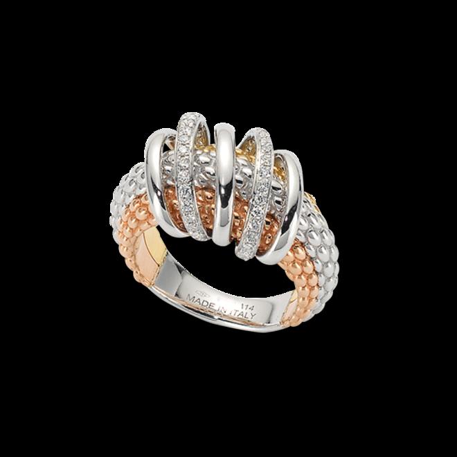 Ring Fope Solo Mialuce aus 750 Roségold, 750 Weißgold und 750 Gelbgold mit mehreren Brillanten (0,3 Karat)