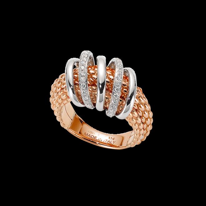 Ring Fope Solo Mialuce aus 750 Roségold und 750 Weißgold mit mehreren Brillanten (0,3 Karat)