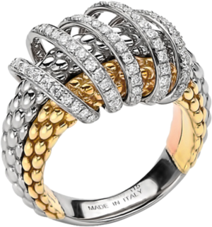 Ring Fope Solo Mialuce aus 750 Roségold, 750 Weißgold und 750 Gelbgold mit mehreren Brillanten (0,7 Karat)