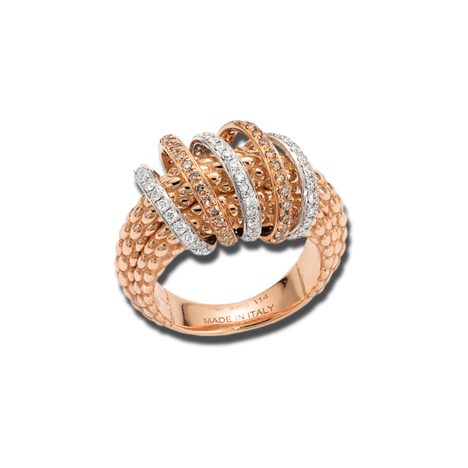 Ring Fope Solo Mialuce aus 750 Roségold mit mehreren Brillanten (0,72 Karat)