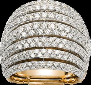Ring Fope Solo Mialuce aus 750 Gelbgold mit mehreren Brillanten (2,22 Karat)