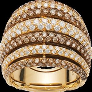 Ring Fope Solo Mialuce aus 750 Gelbgold mit mehreren Brillanten (2,36 Karat)