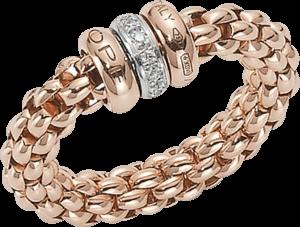 Ring Fope Flex'it Solo aus 750 Roségold und 750 Weißgold mit mehreren Brillanten (0,1 Karat) Größe L (58-61)