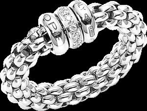 Ring Fope Flex'it Solo aus 750 Weißgold mit mehreren Brillanten (0,1 Karat) Größe L (58-61)
