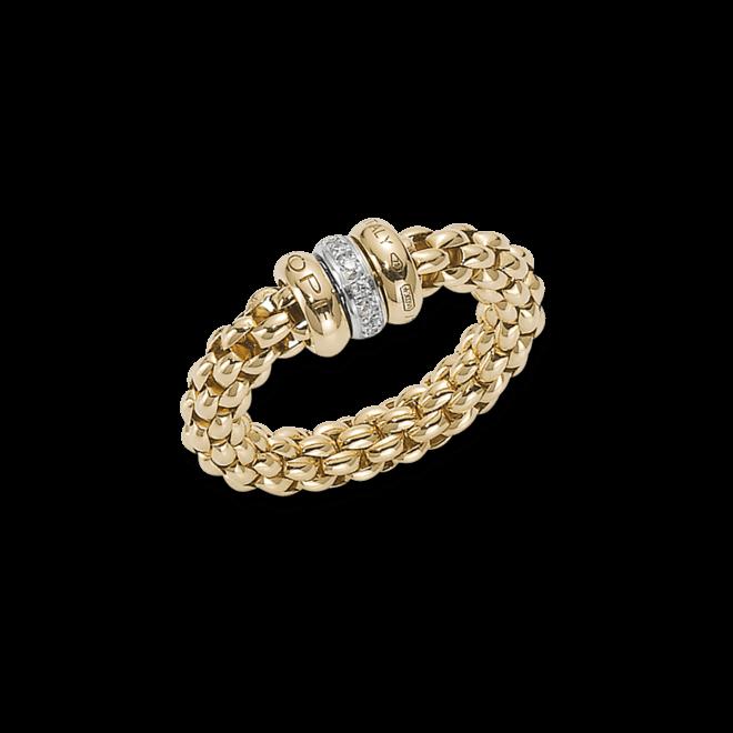 Ring Fope Flex'it Solo aus 750 Gelbgold und 750 Weißgold mit mehreren Brillanten (0,1 Karat) Größe S (49-53)