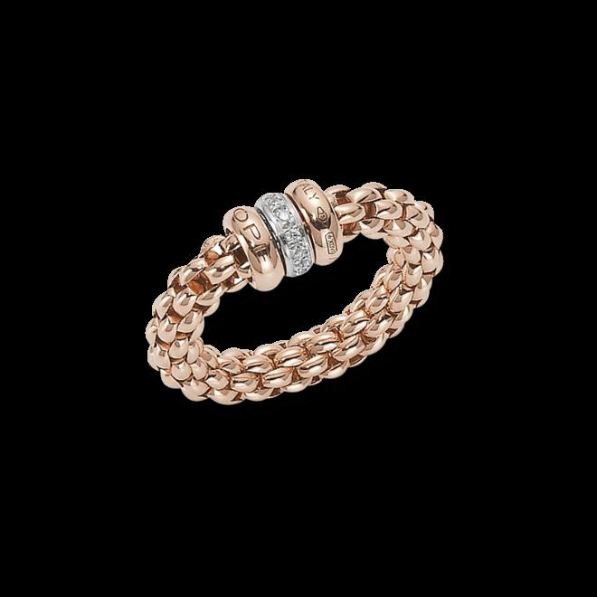 Ring Fope Flex'it Solo aus 750 Roségold und 750 Weißgold mit mehreren Brillanten (0,1 Karat) Größe S (49-53)