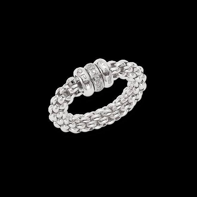 Ring Fope Flex'it Solo aus 750 Weißgold mit mehreren Brillanten (0,1 Karat) Größe S (49-53)