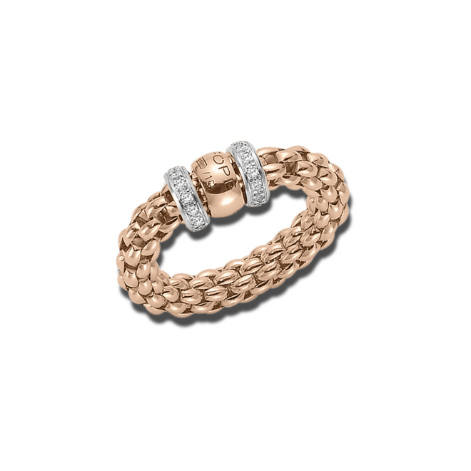 Ring Fope Flex'it Solo aus 750 Roségold mit mehreren Brillanten (0,2 Karat) Größe S (49-53)