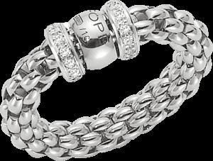 Ring Fope Flex'it Solo aus 750 Weißgold mit mehreren Brillanten (0,2 Karat) Größe S (49-53)