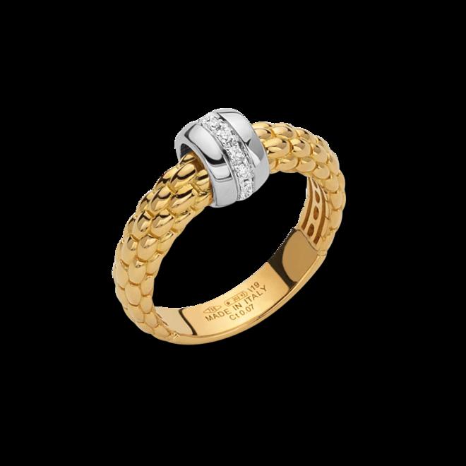 Ring Fope Solo aus 750 Gelbgold und 750 Weißgold mit mehreren Brillanten (0,07 Karat)