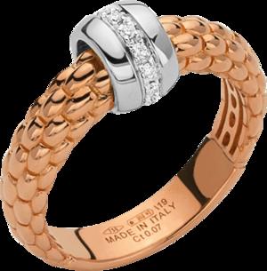 Ring Fope Solo aus 750 Roségold und 750 Weißgold mit mehreren Brillanten (0,07 Karat)