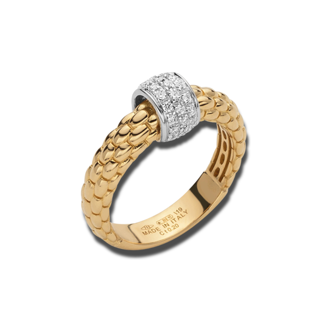 Ring Fope Solo aus 750 Gelbgold und 750 Weißgold mit mehreren Brillanten (0,2 Karat)
