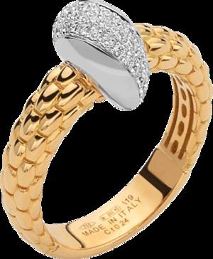 Ring Fope Solo aus 750 Gelbgold und 750 Weißgold mit mehreren Brillanten (0,24 Karat)
