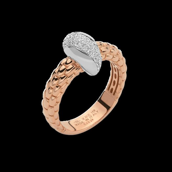Ring Fope Solo aus 750 Roségold und 750 Weißgold mit mehreren Brillanten (0,24 Karat)