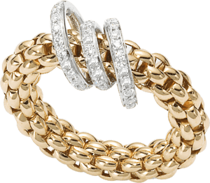 Ring Fope Flex'it Solo aus 750 Gelbgold mit mehreren Brillanten (0,26 Karat) Größe L (58-61)
