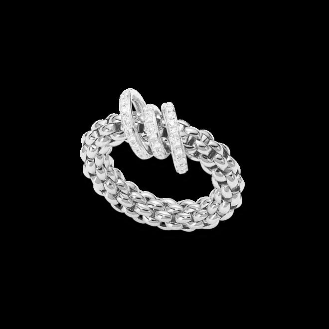 Ring Fope Flex'it Solo aus 750 Weißgold mit mehreren Brillanten (0,26 Karat) Größe L (58-61)