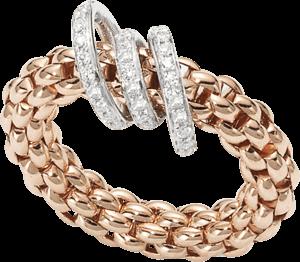 Ring Fope Flex'it Solo aus 750 Roségold mit mehreren Brillanten (0,26 Karat) Größe M (54-57)