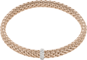 Armband Fope Flex'it Vendôme aus 750 Roségold mit 12 Brillanten (0,1 Karat) Größe L