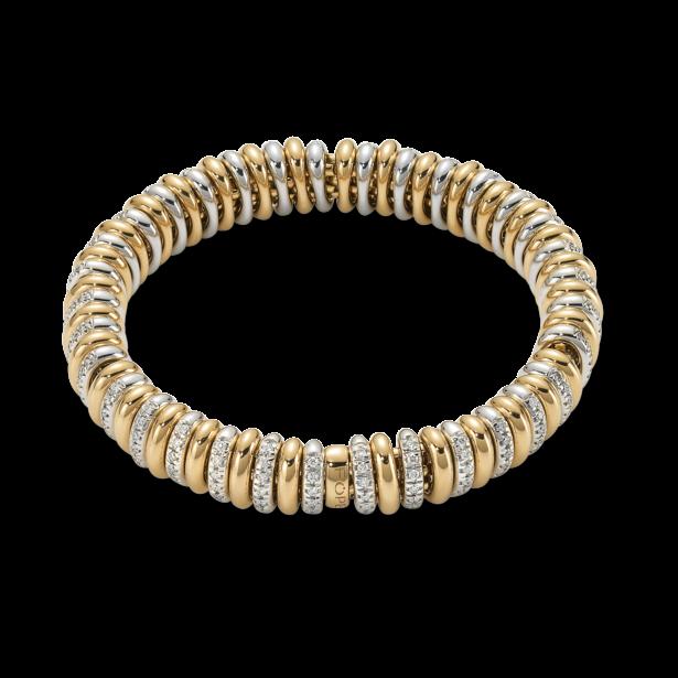 Armband Fope Flex'it Vendôme aus 750 Gelbgold und 750 Weißgold mit mehreren Brillanten (1,56 Karat) Größe S