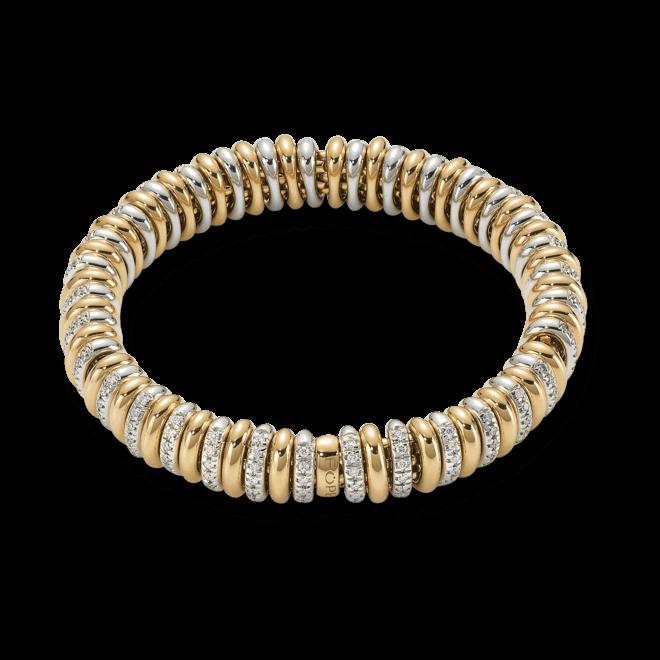 Armband Fope Flex'it Vendôme Gelbgold aus 750 Gelbgold und 750 Weißgold mit mehreren Brillanten (1,66 Karat) Größe M