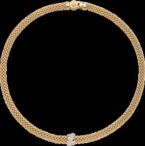 Halskette Fope Flex'it Vendôme aus 750 Gelbgold und 750 Weißgold mit mehreren Brillanten (0,2 Karat)