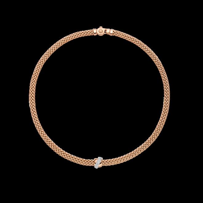 Halskette Fope Flex'it Vendôme aus 750 Roségold und 750 Weißgold mit mehreren Brillanten (0,2 Karat)