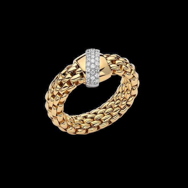 Ring Fope Flex'it Vendôme aus 750 Gelbgold und 750 Weißgold mit mehreren Brillanten (0,2 Karat) Größe S (49-53)