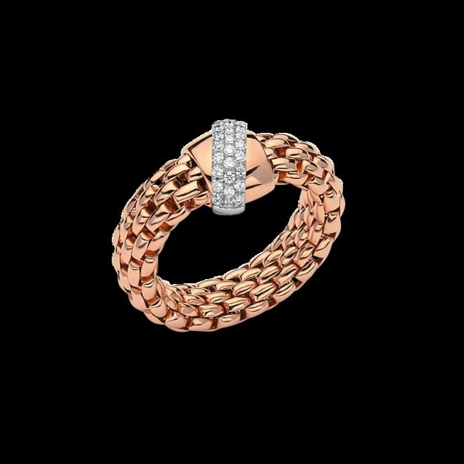 Ring Fope Flex'it Vendôme aus 750 Roségold und 750 Weißgold mit mehreren Brillanten (0,2 Karat) Größe S (49-53)