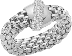 Ring Fope Flex'it Vendôme aus 750 Weißgold mit mehreren Brillanten (0,2 Karat) Größe S (49-53)