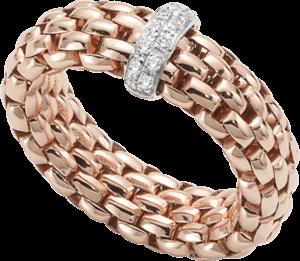 Ring Fope Flex'it Vendôme aus 750 Roségold mit 12 Brillanten (0,1 Karat) Größe M (54-57)