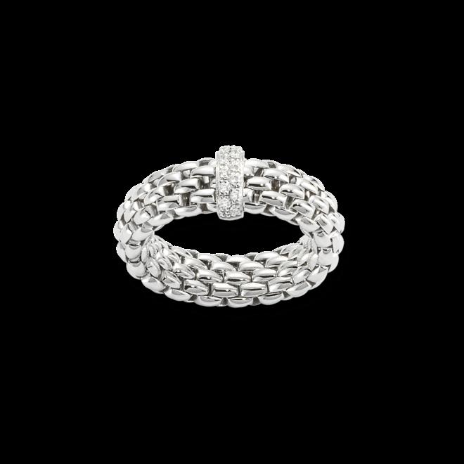 Ring Fope Flex'it Vendôme aus 750 Weißgold mit 12 Brillanten (0,1 Karat) Größe S (49-53)