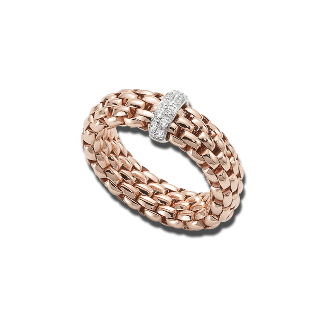 Ring Fope Flex'it Vendôme aus 750 Roségold mit 12 Brillanten (0,1 Karat)