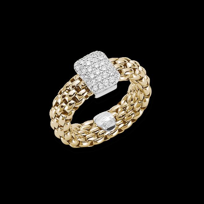 Ring Fope Flex'it Vendôme aus 750 Gelbgold mit mehreren Brillanten (0,41 Karat) Größe L (58-61)