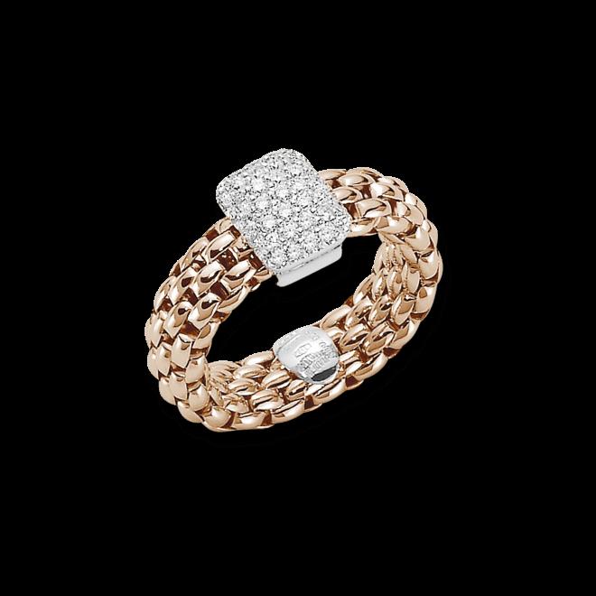 Ring Fope Flex'it Vendôme aus 750 Roségold mit mehreren Brillanten (0,41 Karat) Größe M (54-57)