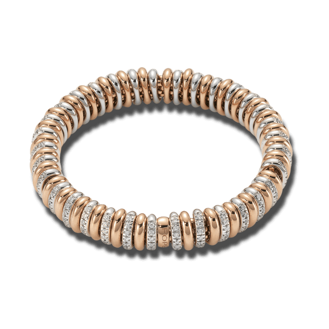 Armband Fope Flex'it Vendôme Roségold aus 750 Roségold und 750 Weißgold mit mehreren Brillanten (1,66 Karat) Größe M