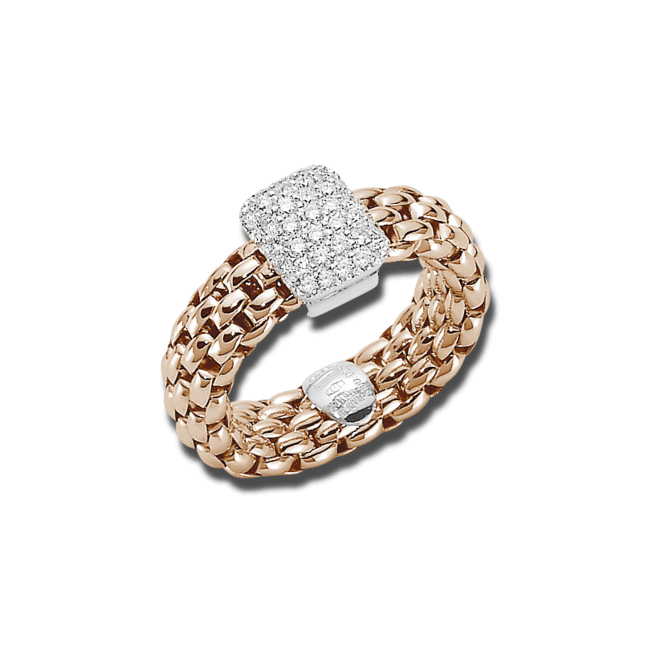 Ring Fope Flex'it Vendôme Roségold aus 750 Roségold mit mehreren Brillanten (0,41 Karat) Größe L (58-61)