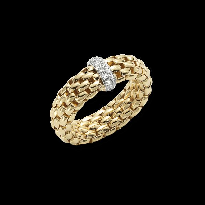 Ring Fope Vendôme aus 750 Gelbgold mit 12 Brillanten (0,1 Karat) Größe L (58-61)