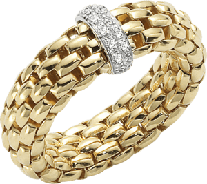 Ring Fope Flex'it Vendôme aus 750 Gelbgold mit 12 Brillanten (0,1 Karat) Größe L (58-61)