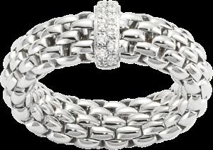Ring Fope Flex'it Vendôme aus 750 Weißgold mit 12 Brillanten (0,1 Karat) Größe L (58-61)