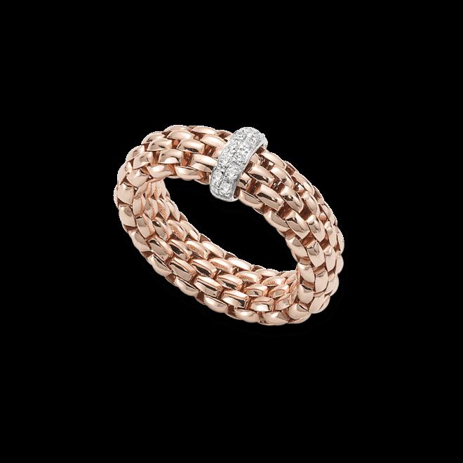 Ring Fope Flex'it Vendôme aus 750 Roségold mit 12 Brillanten (0,1 Karat) Größe S (49-53)