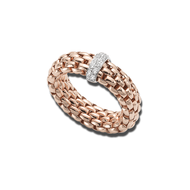 Ring Fope Vendôme Roségold aus 750 Roségold mit 12 Brillanten (0,1 Karat) Größe S (49-53)