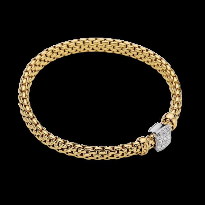 Armband Fope Vendome Flex'it aus 750 Gelbgold und 750 Weißgold mit mehreren Brillanten (0,41 Karat) Größe XS
