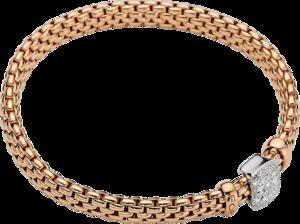Armband Fope Vendome Flex'it aus 750 Roségold und 750 Weißgold mit mehreren Brillanten (0,41 Karat) Größe XS