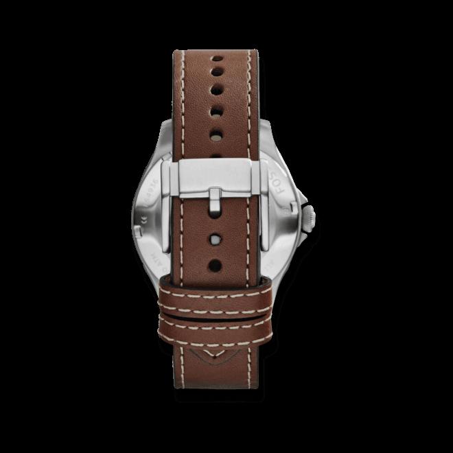 Herrenuhr Fossil Recruiter 42mm mit silberfarbenem Zifferblatt und Kalbsleder-Armband