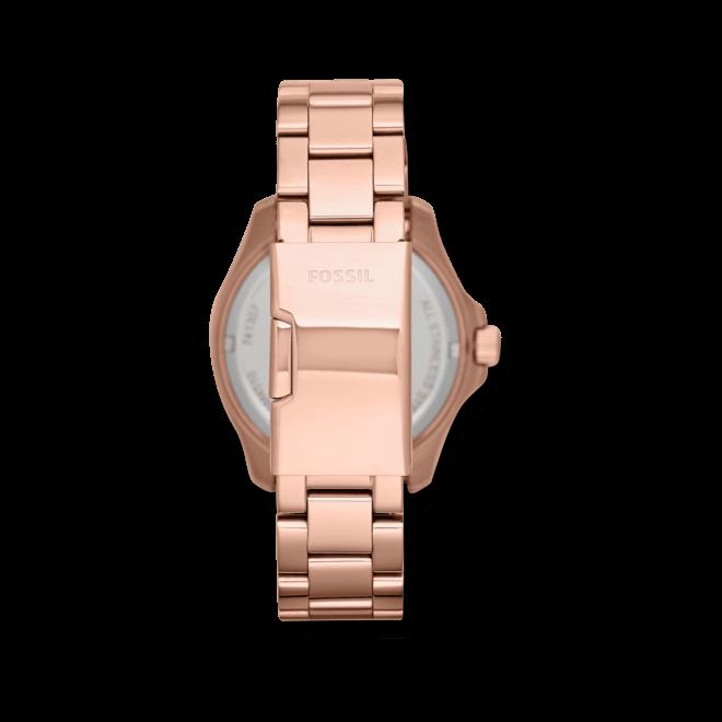 Damenuhr Fossil Cecile 40mm mit roséfarbenem Zifferblatt und Edelstahlarmband